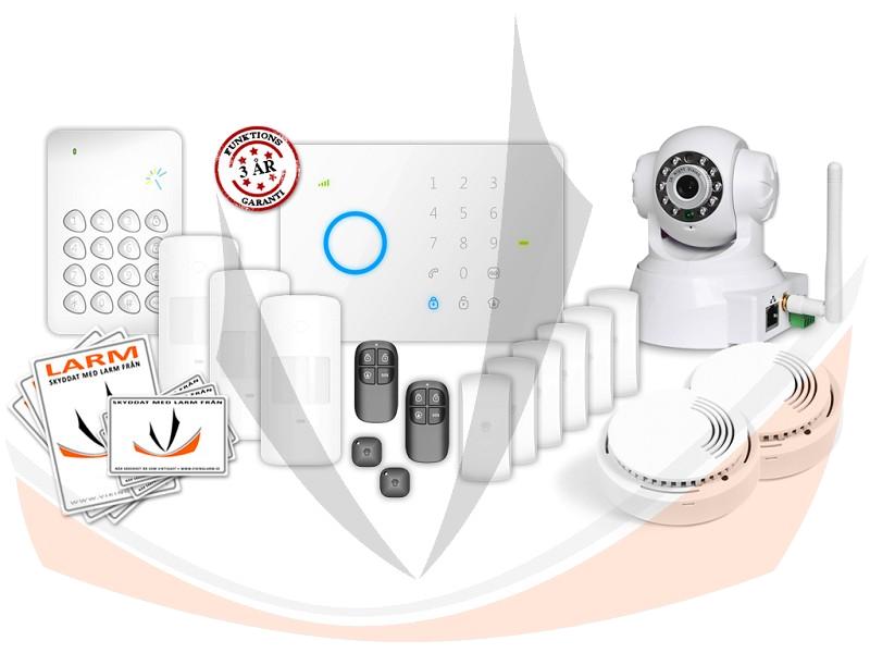 Trådlöst villalarm med smart centralenhet samt trådlösa rörelsedetektorer, magnetkontakter, brandvarnare, rökvarnare, fjärrkontroller och larmbrickor tillsammans med trådlös IP-kamera för larm med kamerabevakning.